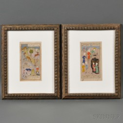 Two Framed Persian Miniatures