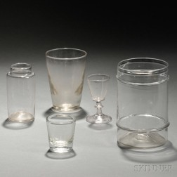 Five Pieces of Colorless Glassware