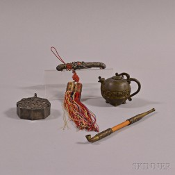 Two Bronze Water Droppers and Two Metal Items