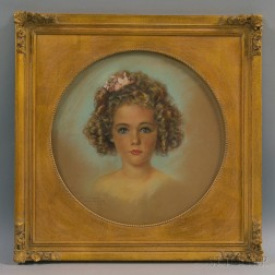 Three Framed 20th Century Portraits of Girls: Emile Antoine Verpilleux (British, 1888-1964), Head of a Young Girl with Golden Ringlets