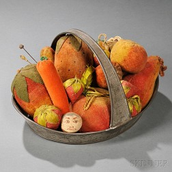 Collection of Seventeen   Fruit-shaped Pincushions in Tin Handled Tray