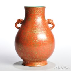 Coral-ground Gilt-decorated Hu   Vase