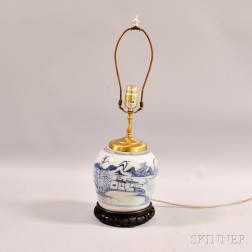 Blue and White Porcelain Ginger Jar Mounted as a Lamp