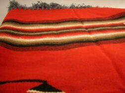 Large Chimayo Wool Weaving, Two Mexican Weavings and an Painted Indian Portrait on Canvas.