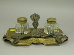 Silver Plated Floral Mounted Hammered Copper and Cut Glass Inkstand.