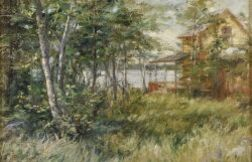Attributed to George Loftus Noyes (Canadian, 1864-1956)  Cabin on the Lake