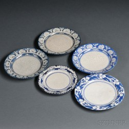 Five Dedham Pottery Dishes and Shallow Bowls