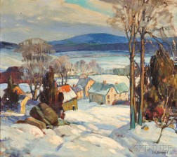 Roy Atherton Davidson (American, b. 1887)      Snowy Landscape of Canton, Massachusetts