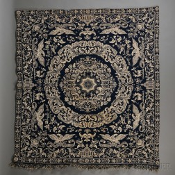 Blue and White Wool and Cotton Woven Jacquard Coverlet