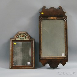 Queen Anne Walnut Veneer Looking Glass and a Continental Courting Mirror