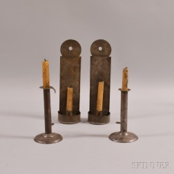 Pair of Sheet Iron Hogscraper Candlesticks and a Pair of Tin Hanging Wall Sconces
