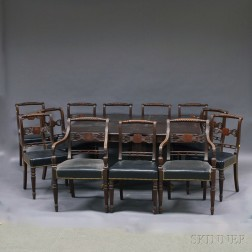 Classical-style Mahogany Dining Table and Twelve Chairs