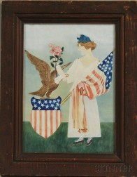 American School, 19th Century      Patriotic Scene of Lady Liberty Carrying the Flag with a Bald Eagle.