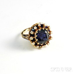 14kt Gold, Blue Spinel, and Diamond Ring