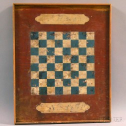 Paint-decorated Checkers Game Board