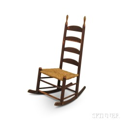 Brown-painted Ladder-back Rocking Chair