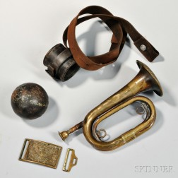 Bugle, Cannon Ball, Belt Plate, and a Carbine Socket
