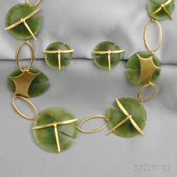 "18kt Gold and Nephrite ""Lily Pad and Damselfly"" Suite, Gabriella Kiss"