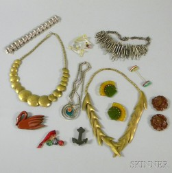 Collection of Assorted Bakelite and 1960s Costume Jewelry
