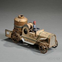 "Painted Sheet and Cast Iron ""Hill Climber"" Fire Pumper Toy"
