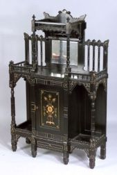 American Aesthetic Movement Ebonized and Parcel Gilt Side Cabinet