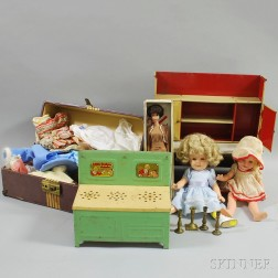 Assorted Vintage Dolls, Doll Furniture, and Doll Clothing