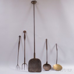 Five Wrought Iron and Brass Hearth Items