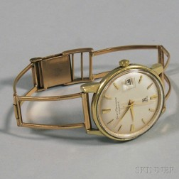 Gentleman's Stainless Steel-backed Girard-Perregaux Gyromatic Wristwatch on 18kt   Rose Gold Band