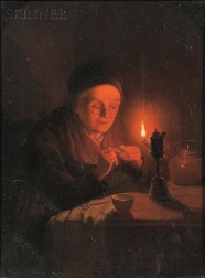 Andreas Franciscus Josephus Vermeulen (Dutch, 1821-1884)      Old Woman Threading a Needle by Candlelight