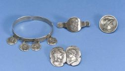 Four Silver Medallion Jewelry Items