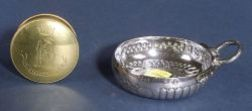 French .950 Silver Wine Taster and an English Brass Snuff Box