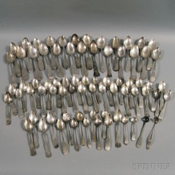 Large Group of Coin Silver Spoons
