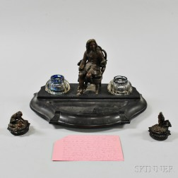 French Bronze-mounted, Slate, and Glass Figural Inkwell