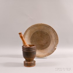 Turned Mortar, Pestle, and Bowl