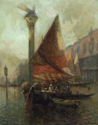 Attributed to Nicholas Briganti (American, 1895-1989)  Sailboats Before the Doge's Palace, Venice.