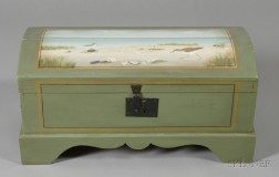Pine Paint-decorated Dome-top Trunk