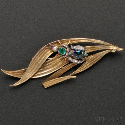14kt Gold and Gemstone Leaf and Insect Brooch