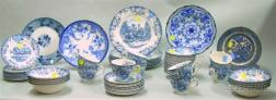 Fifty-two Piece Johnson Bros. Blue and White Transfer Coaching Scenes Pattern   Partial Dinner Set