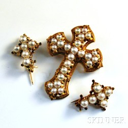 Three 18kt Gold and Pearl Cross Brooches