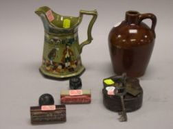 Buffalo Pottery Deldare Pitcher, a Roycroft Brown Glazed Stoneware Jug, a Pony Express Iron Padlock and Two J. P. Kennedy Horse Trans