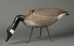 Carved and Painted Wooden Canada Goose Decoy