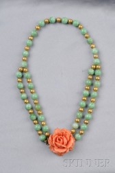 Jadeite and Gold Bead Festoon Necklace