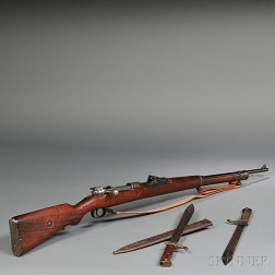 German Gewehr 98 Bolt Action Rifle and Two Bayonets