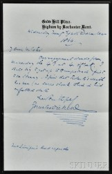Dickens, Charles (1812-1870) Autograph Letter Signed, 28 December 1864.