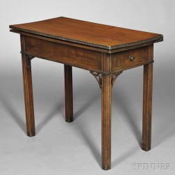 Carved Tiger Maple and Cherry Card Table