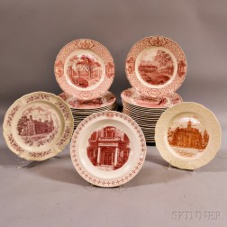 """Approximately Forty-six Royal Cauldon Red Transfer-decorated """"Phillips Exeter Academy"""" Dinner Plates.     Estimate $250-350"""