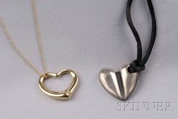 Two Heart Pendant Necklaces, Elsa Peretti, Tiffany & Co.,   and Barry Kieselstein-Cord