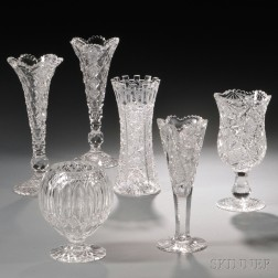 Six Colorless Cut Glass Items