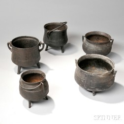 Five Small Cast Iron Pots