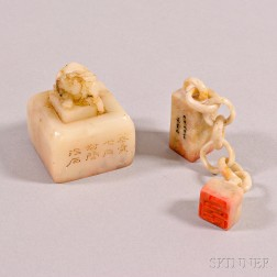 Two Carved Soapstone Seals